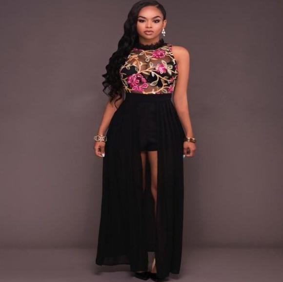 fd5e50cf4af Black Sheer Mesh Chiffon Romper Maxi Dress